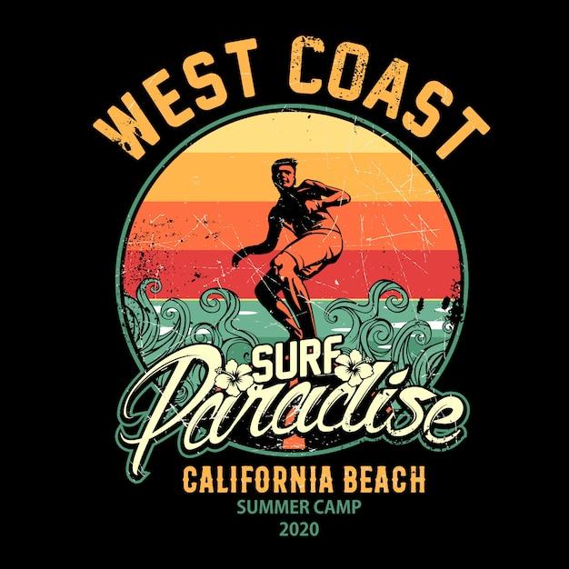 Ilustracja Projektu Surfingu, Raj Dla Surferów Premium Wektorów