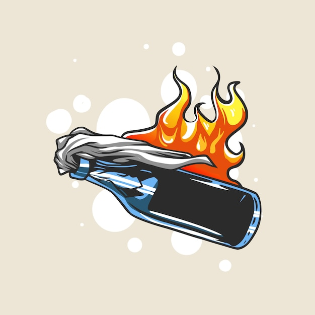 Ilustracja Protestu Bombowego Mołotowa Premium Wektorów