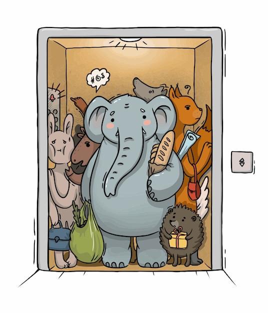 Ilustracja Przeciążona Winda Z Różnymi Zwierzętami I Słoniem Premium Wektorów