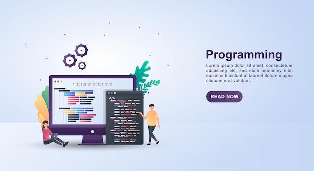 Ilustracja Przedstawiająca Koncepcję Programowania W Języku Programowania Wyświetlanym Na Ekranie Monitora. Premium Wektorów