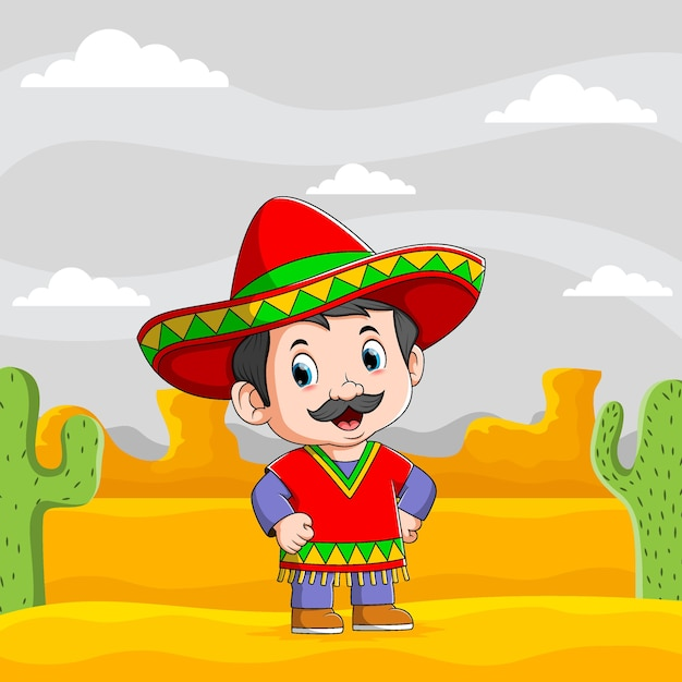 Ilustracja Przedstawiająca Meksykańskich Mężczyzn Stojących Na Pustyni Używa Czerwonego Sombrero Premium Wektorów