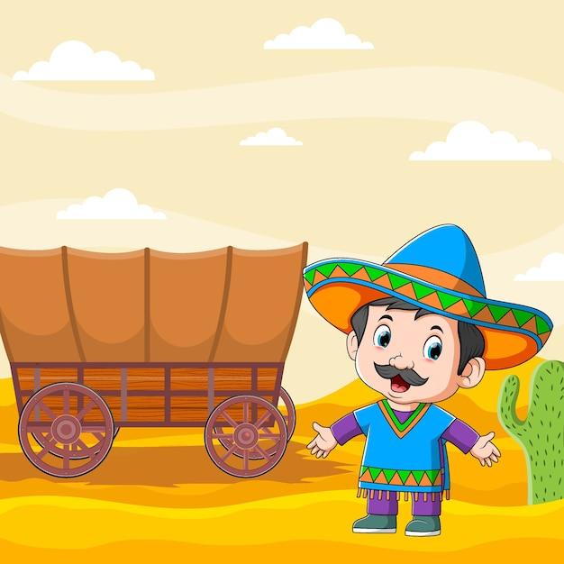 Ilustracja Przedstawiająca Meksykańskich Młodych Mężczyzn Stojących W Pobliżu Brązowego Wózka Premium Wektorów