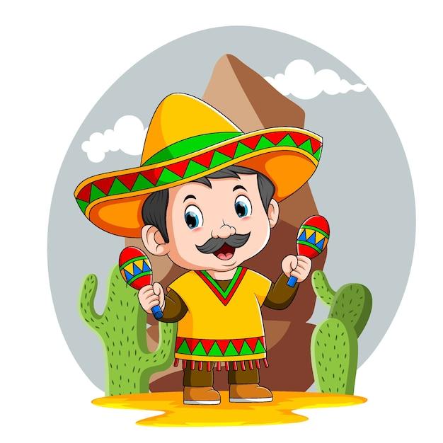 Ilustracja Przedstawiająca Meksykańskiego Chłopca Używa żółtego Kapelusza Sombrero Premium Wektorów