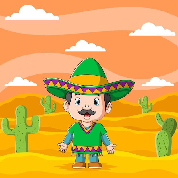 Ilustracja Przedstawiająca Młodego Meksykańskiego Chłopca W Godzinach Popołudniowych Używa Kapelusza Sombrero Premium Wektorów