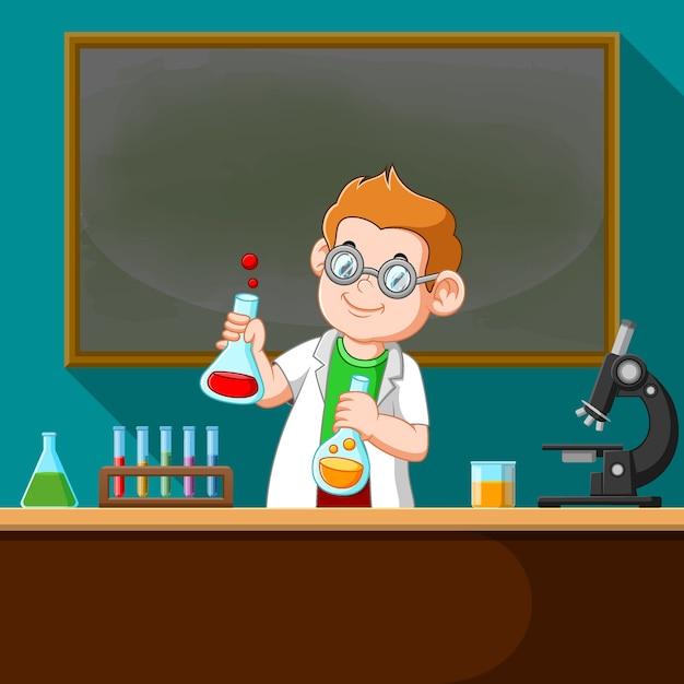 Ilustracja Przedstawiająca Profesora Wykonującego Eksperyment Chemiczny W Laboratorium Premium Wektorów