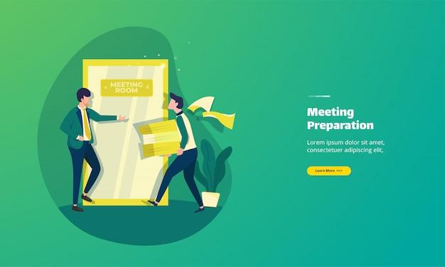 Ilustracja Przedstawiająca Przygotowanie Strony Docelowej Dokumentów Spotkania Premium Wektorów