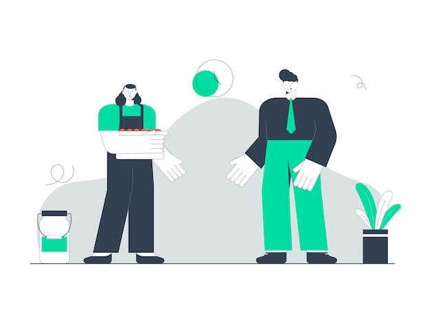 Ilustracja Przedstawiająca Rolnika Sprzedającego Swoje Owoce Klientowi Premium Wektorów