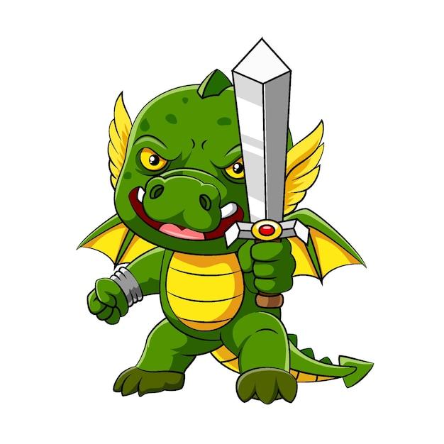 Ilustracja Przedstawiająca Zielonego Smoka Z Małymi Skrzydełkami Stoi I Trzyma Miecz Premium Wektorów