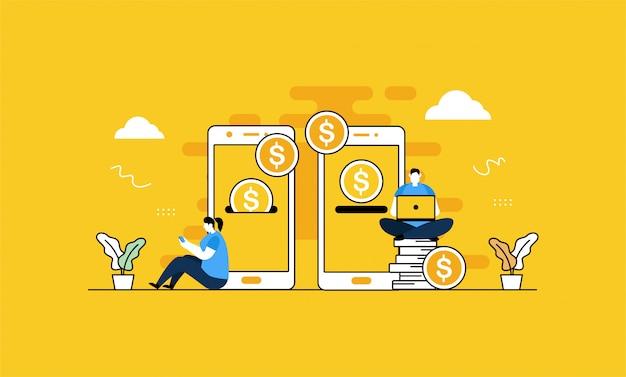 Ilustracja Przelewu Mobilnego Premium Wektorów