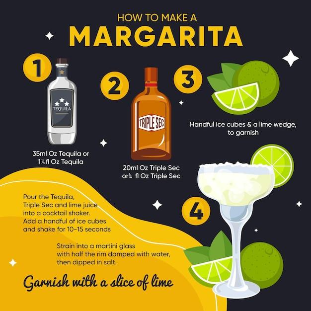Ilustracja Przepis Na Koktajl Margarita Premium Wektorów