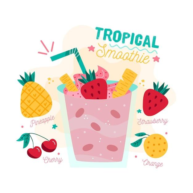 Ilustracja Przepis Tropikalny Koktajl Darmowych Wektorów