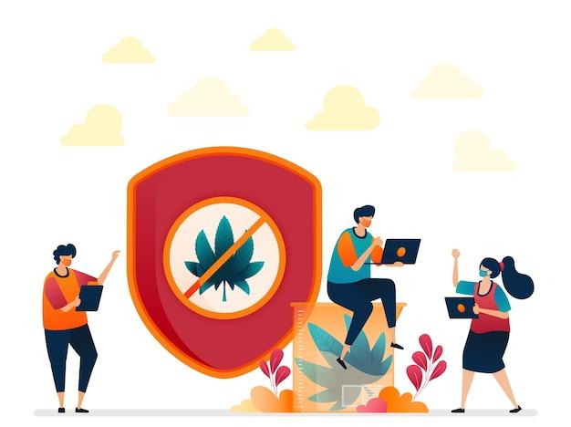Ilustracja Przepisów I Regulacji Dotyczących Konopi Indyjskich. Marihuana Do Badań, Medycyny I Edukacji Premium Wektorów