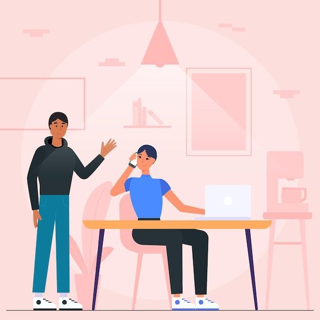 Ilustracja Przestrzeni Coworkingowej Z Osobami Pracującymi Darmowych Wektorów
