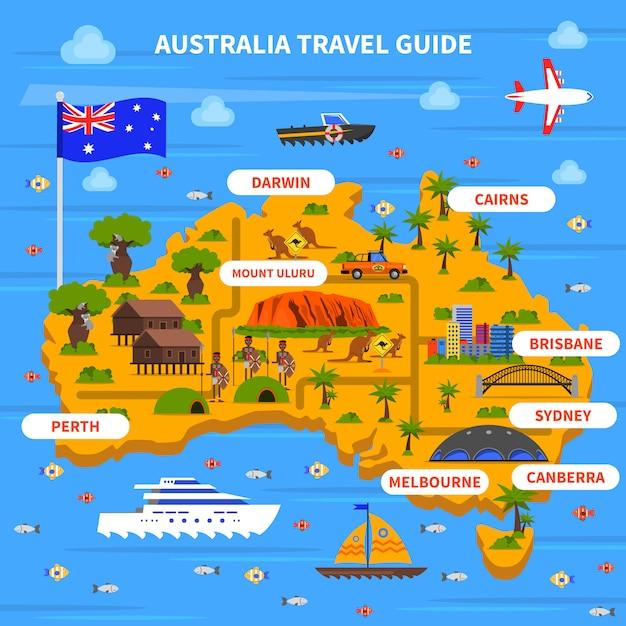 Ilustracja przewodnika po australii Darmowych Wektorów