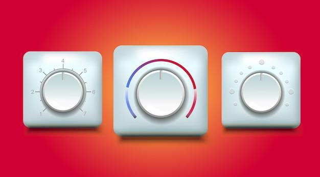 Ilustracja Przycisku Ciśnienia I Prędkości Regulatora Temperatury Premium Wektorów