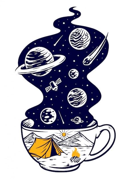 Ilustracja Przygoda Kawy Premium Wektorów