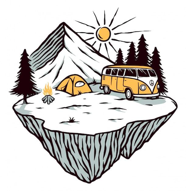 Ilustracja Przygodowa I Campingowa Premium Wektorów