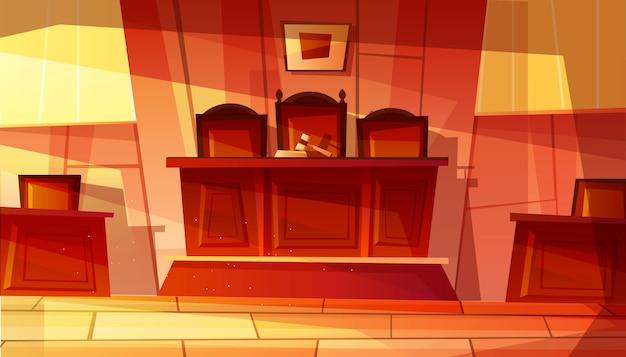 Ilustracja Puste Wnętrze Sądu Z Meblami. Darmowych Wektorów