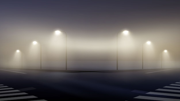 Ilustracja Pustej Mglistej Ulicy W Nocy Na Przedmieściach, Skrzyżowanie Mgły Tapety Zapalone Latarnie Premium Wektorów
