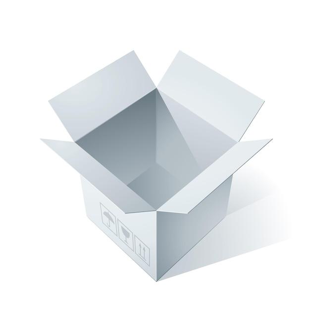 Ilustracja Pusty Otwarty Karton Premium Wektorów