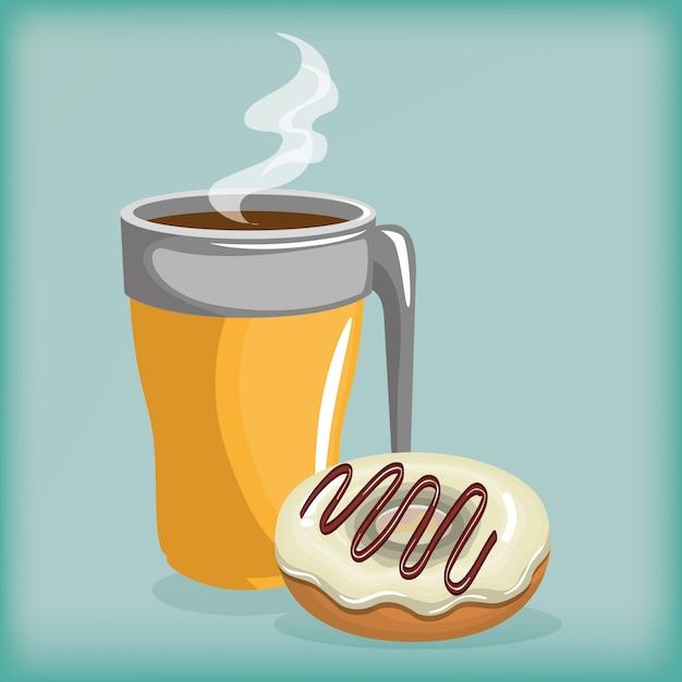 Ilustracja pyszne filiżanki kawy i pączki Darmowych Wektorów