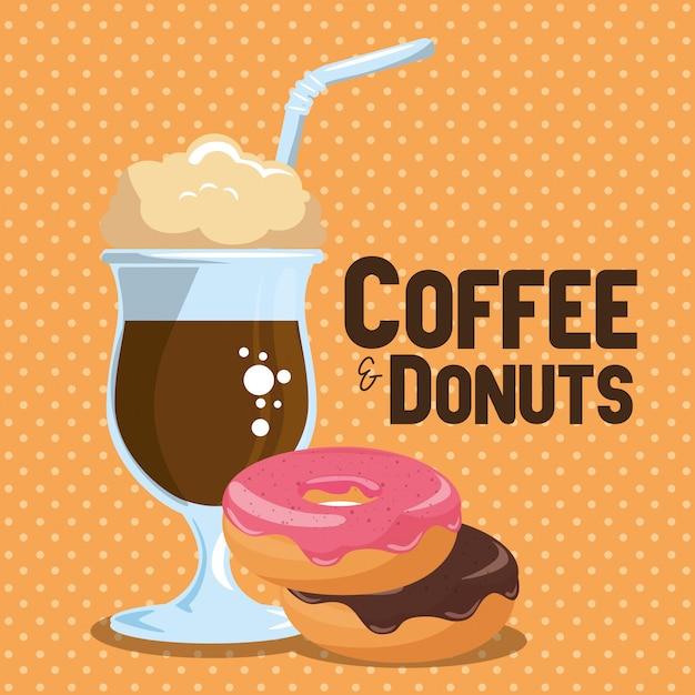 Ilustracja pyszne filiżanki mrożonej kawy i pączki Darmowych Wektorów