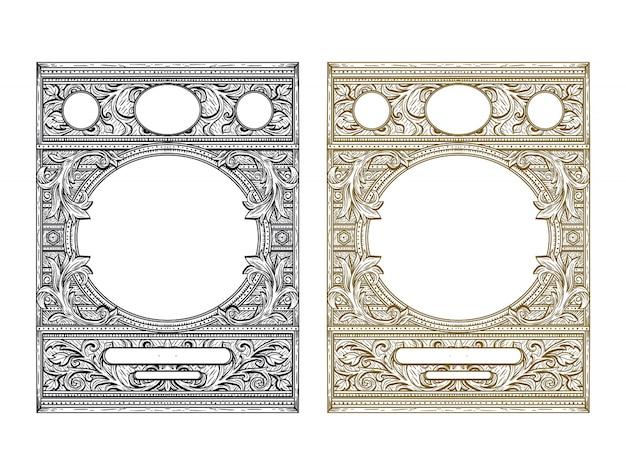 Ilustracja rama w stylu vintage Premium Wektorów