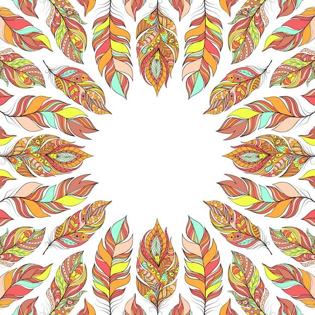 Ilustracja ramki z streszczenie kolorowe pióra. Premium Wektorów
