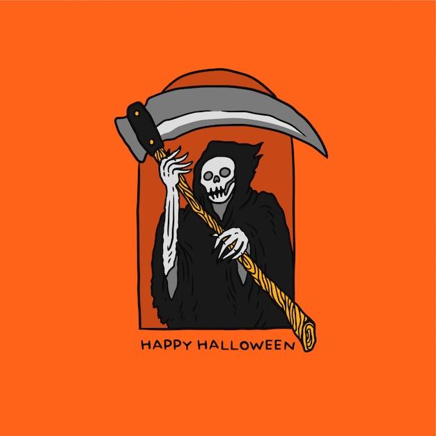 Ilustracja reaper halloween Premium Wektorów