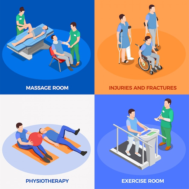 Ilustracja Rehabilitacji Fizjoterapii Darmowych Wektorów