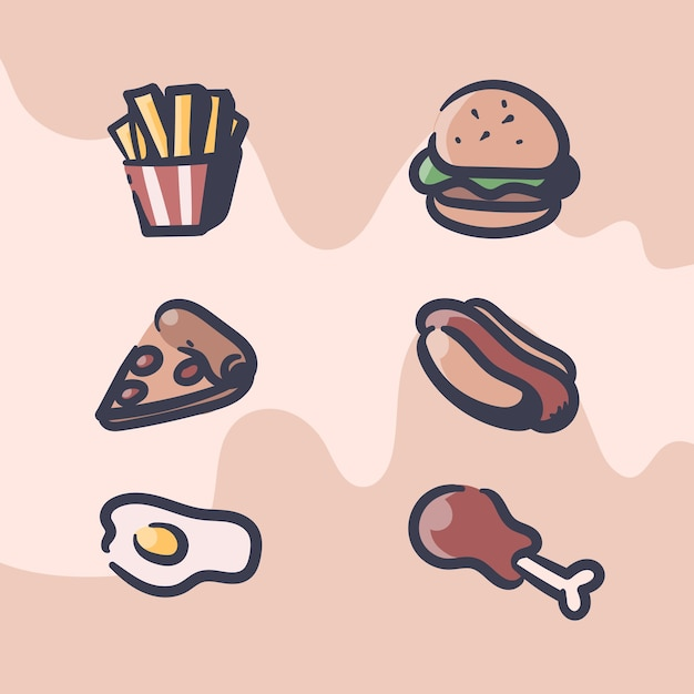 Ilustracja Retro Fast Food Premium Wektorów
