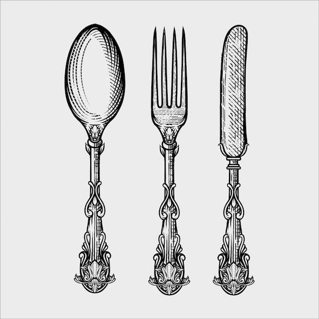 Ilustracja rocznika widelec łyżka i nóż wykonany w stylu szkicu wyciągnąć rękę Premium Wektorów