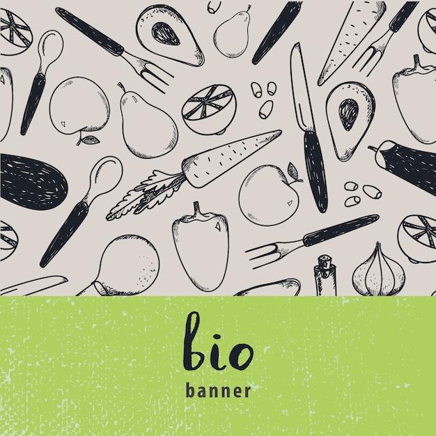 Ilustracja Rocznika żywności. Ilustracja Vintage żywności, Ręcznie Rysowane Baner, Karta, Ulotka Z Czarno-białym Wzorem. Owoce I Warzywa Premium Wektorów