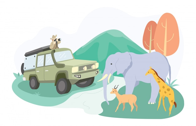 Ilustracja Rodziny Idącej Do Parku Safari, Aby Zobaczyć Słonie, Jelenie I Inne. Premium Wektorów