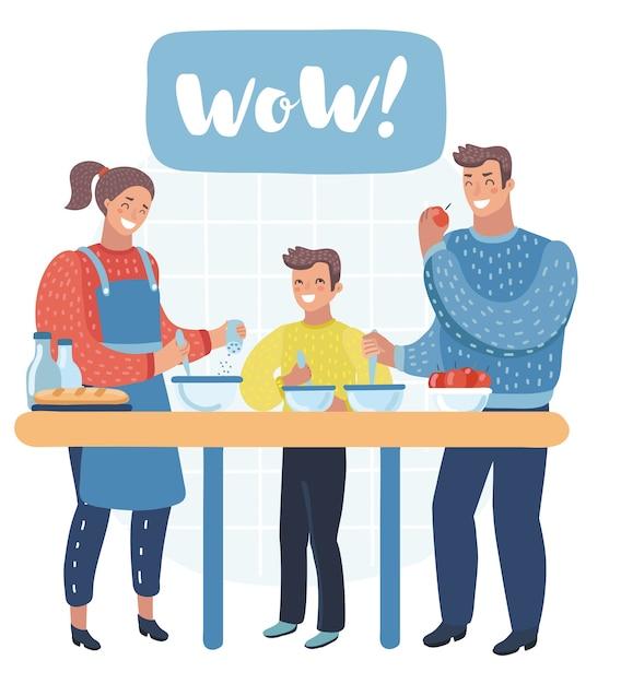 Ilustracja Rodziny Przygotowania Składników Do Gotowania Premium Wektorów
