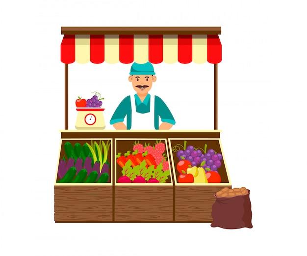 Ilustracja rolnik sprzedaży owoców i warzyw Premium Wektorów