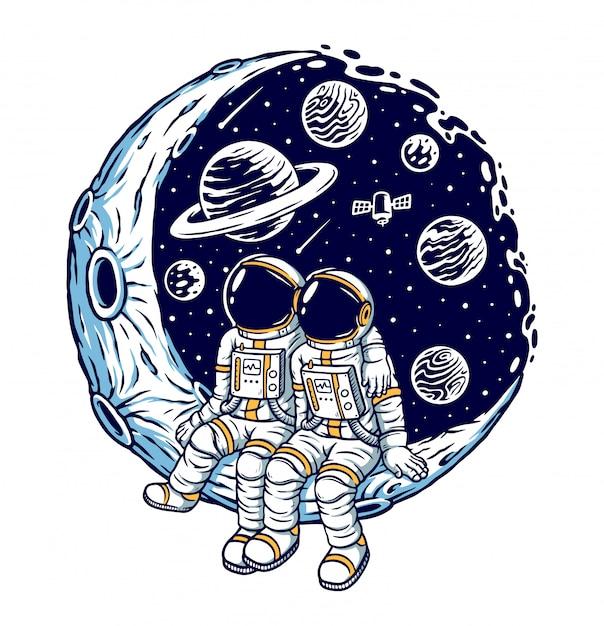 Ilustracja Romantyczna Na Księżycu Premium Wektorów