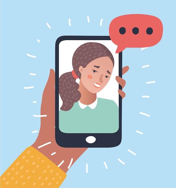 Ilustracja Rozmowy Telefonicznej. Premium Wektorów