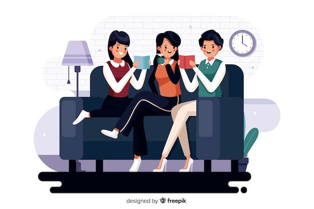 Ilustracja różni młodzi ludzie czyta wpólnie Darmowych Wektorów