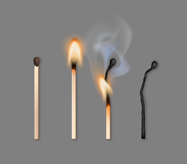 Ilustracja Różnych Faz Palenia Zapałek Premium Wektorów