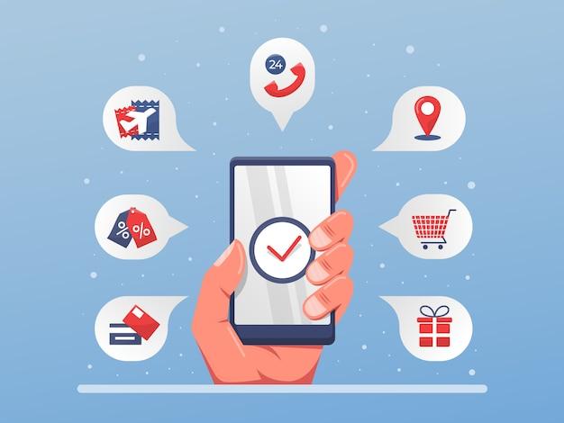 Ilustracja Rozwiązania Usługi Aplikacji Mobilnej Z Jednej Strony Premium Wektorów