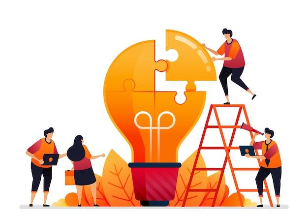 Ilustracja Rozwiązywania Problemów. Znaleźć Rozwiązania Dzięki Pracy Zespołowej. Dziel Się Pomysłami Podczas Burzy Mózgów Premium Wektorów