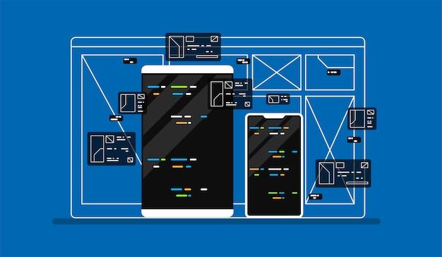 Ilustracja Rozwoju Sieci. Premium Wektorów