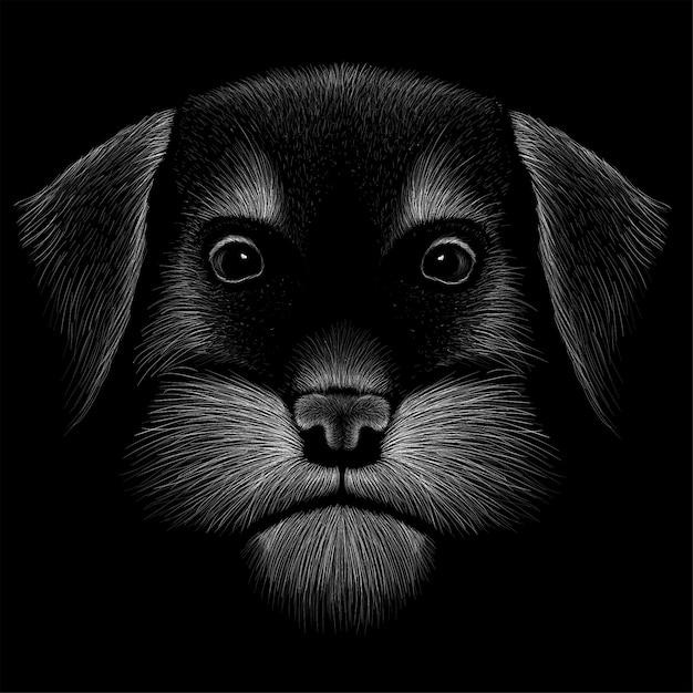Ilustracja rysunek głowy psa Premium Wektorów