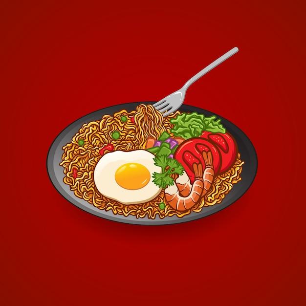 Ilustracja rysunek wektor makaron z jajkiem, pomidorem, krewetkami, ogórkiem, selerem, talerzem i widelcem Premium Wektorów