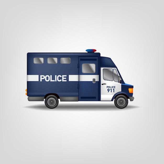 Ilustracja Samochód Policyjny. Realistyczna Furgonetka. Niebieski Szablon Ciężarówki Usługi Premium Wektorów