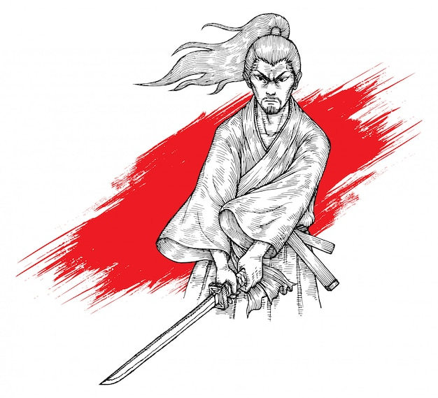 Ilustracja samurai katana Premium Wektorów
