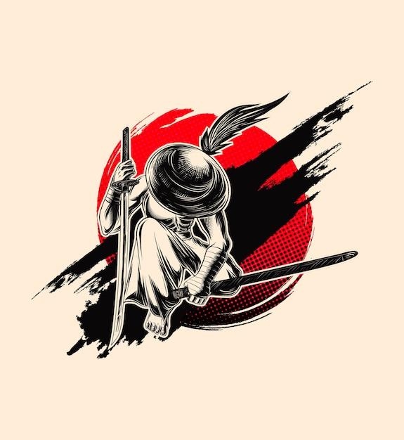 Ilustracja Samuraj, Miecznik W Kapeluszu. Premium Wektorów