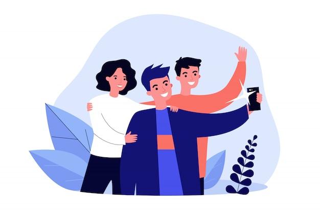 Ilustracja Selfie Z Przyjaciółmi Premium Wektorów