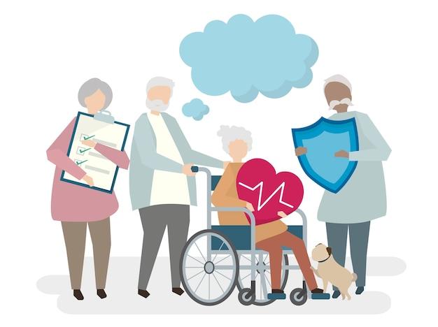 Ilustracja seniorów z ubezpieczeniem na życie Darmowych Wektorów